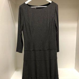 Anne Klein Knit Drop Waist Midi Dress in Gray